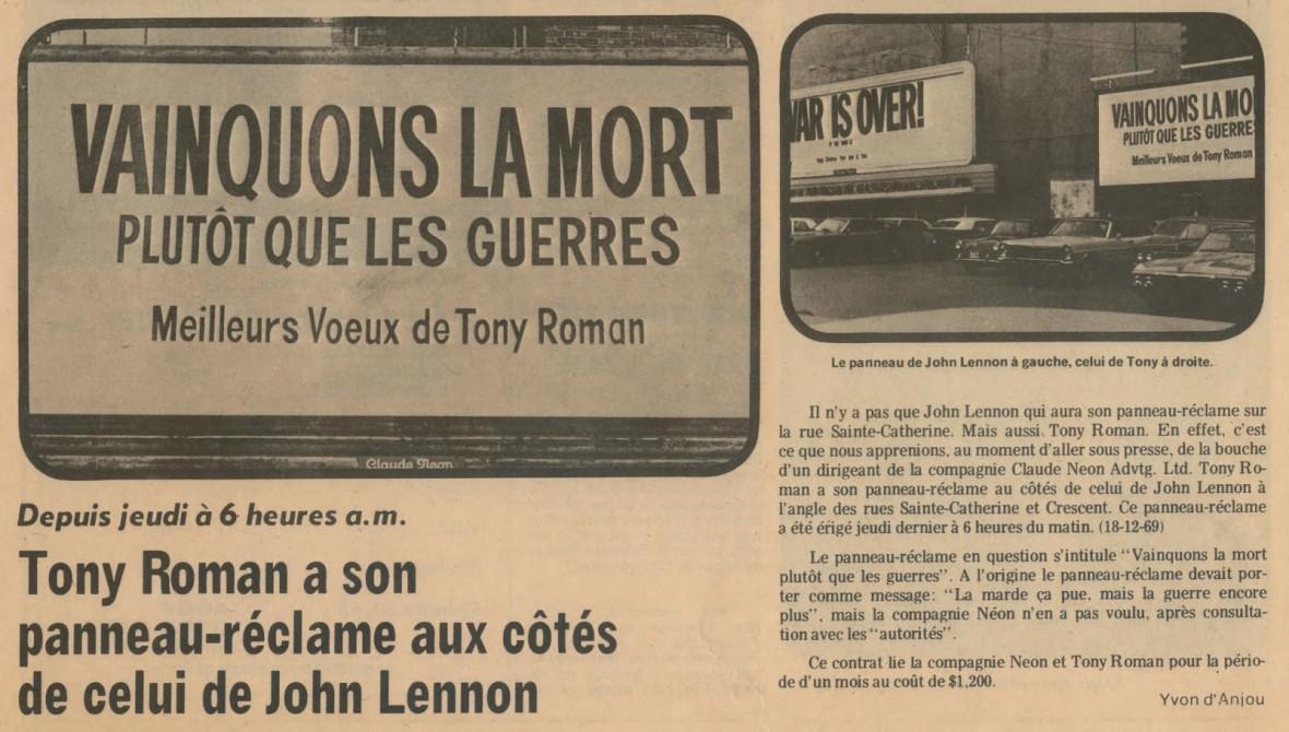 La marde ça pue, mais la guerre encore plus!  Roman pastiche Lennon pour vous offrir ses meilleurs voeux des Fêtes en 1969 (Photo Vedettes, janvier 1970).