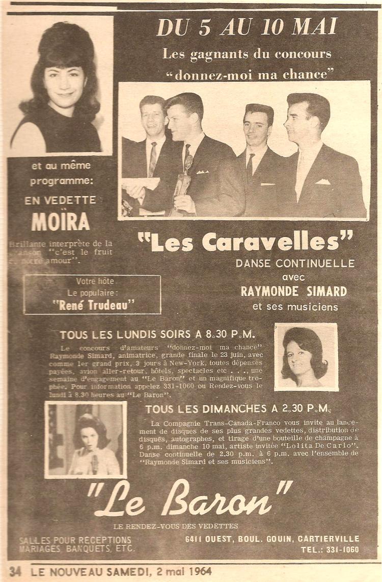 Les Caravelles ouvrent pour Moira, mai 1964.