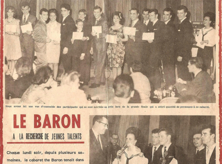 Les Caravelles remportent le coucours d'orchestre au cabaret Le Baron (1964).