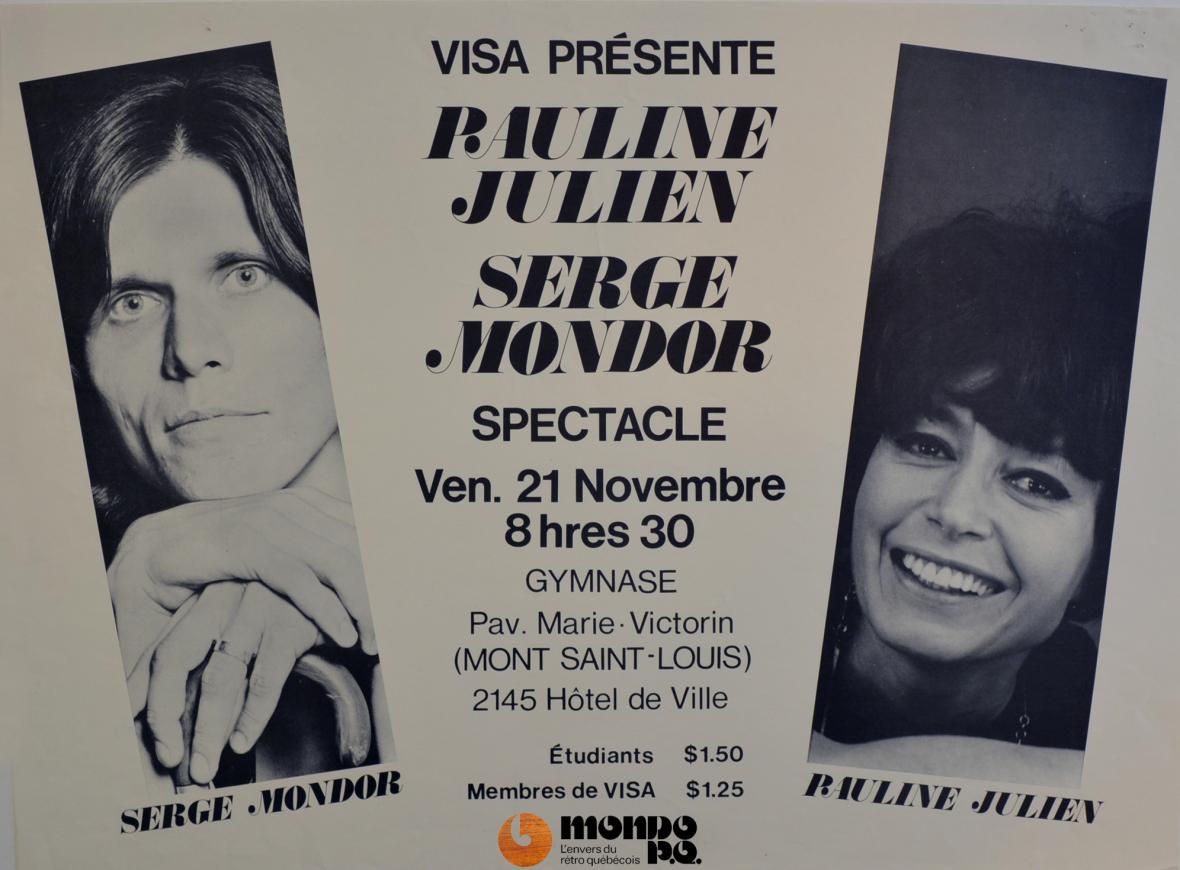 Serge Mondor partage la scène avec Pauline Julien, le 5 décembre 1969 (source: BAnQ).