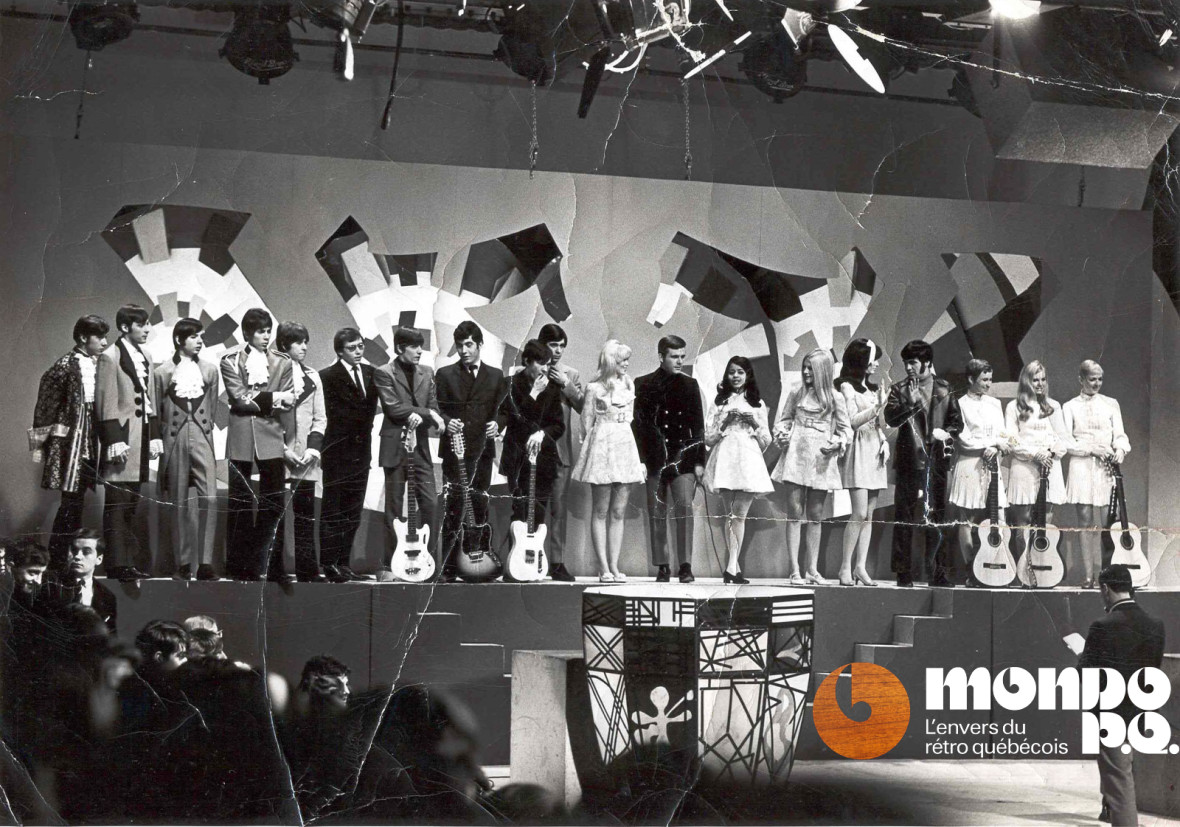 Jeunesse d'Aujourd'hui avec Le District Ouest, un groupe à identifier, l'animateur Pierre Lalonde et ses danseuses, Nanette Workman, Johnny Farago et le trio folk Les Sirroco (avec Frankie Hart au centre).