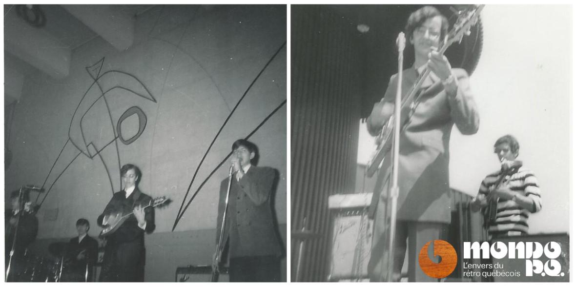 Les Ekos sur scène entre 1967 (gauche) et 1968 (droite).