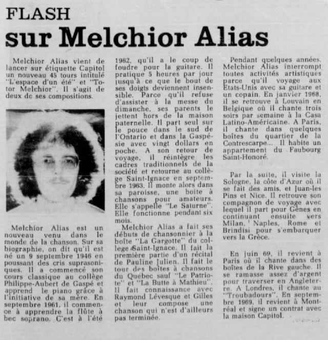 Melchior Alias... écris-nous! (La Patrie, mars 1971).