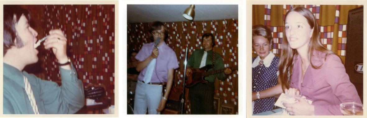 Richard Côté des Fanatiques; Pierre Villeneuve (du groupe Les Bohèmes) chantant pour les Fanatiques ainsi qu'une fan de la première heure, ma mère (collection personnelle; 1968).