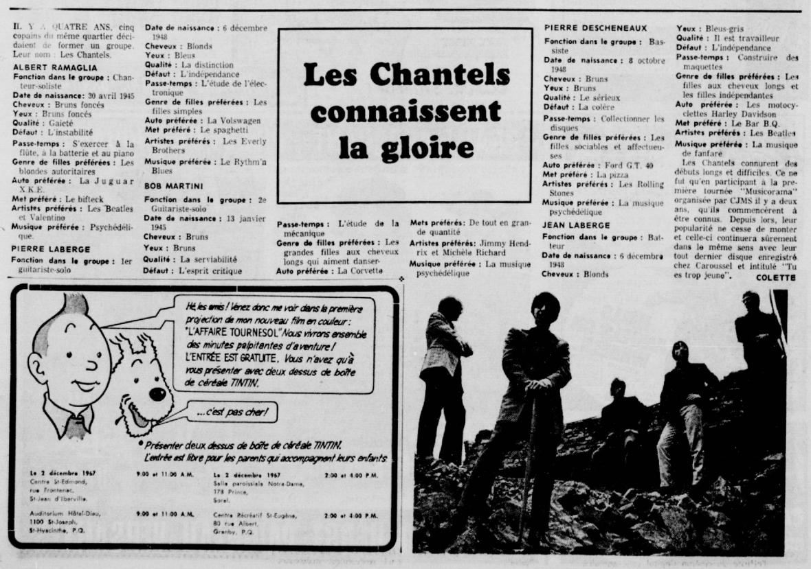 Les chantels connaissent la gloire dans La Patrie, novembre 1967.