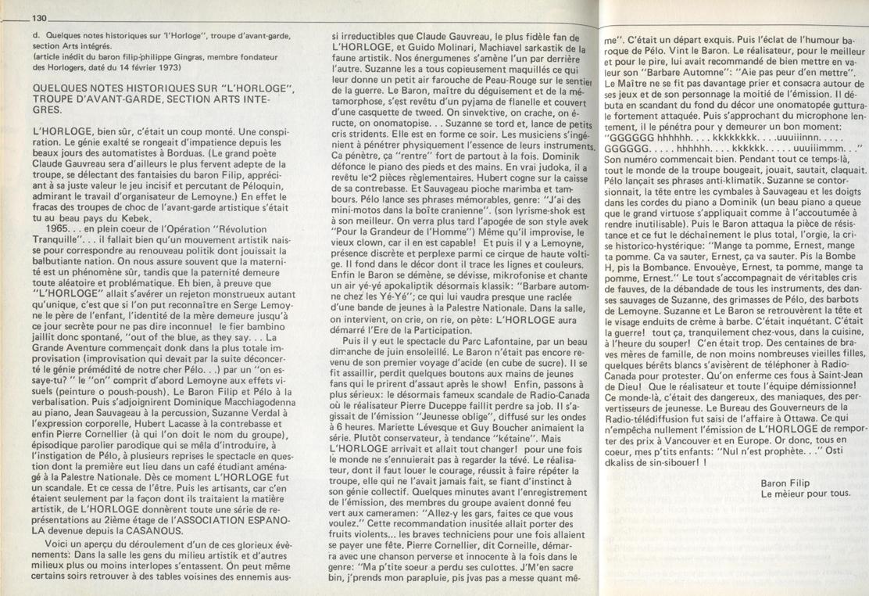 Biographie du groupe L'Horloge signée par le Baron Filip (Québec Underground 1962-1972; Tome 1, p. 130-131)