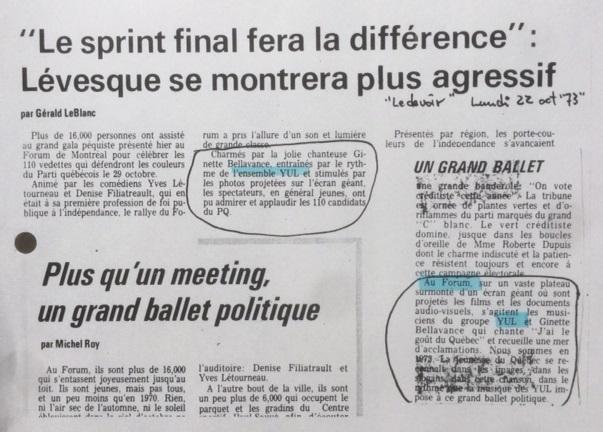 Le Devoir, octobre 1973.